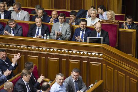 rada: KIEV, UKRAINE - Jul 31, 2014: Arseny Yatsenyuk in the government lodge during the session of the Verkhovna Rada of Ukraine
