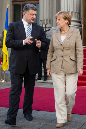 chancellor: KIEV, UKRAINE - Aug 23, 2014: President of Ukraine Petro Poroshenko and Federal Chancellor of Germany Angela Merkel during a working visit to Ukraine