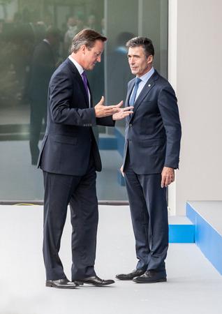 nato summit: NEWPORT, WALES, UK - Sep 4, 2014: NATO summit. British Prime Minister David Cameron and NATO Secretary General Anders Fogh Rasmussen at the NATO summit in Newport (Wales, UK)