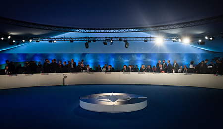 nato summit: NEWPORT, WALES, UK - Sep 4, 2014: World leaders during a meeting of the NATO summit in Newport (Wales, UK)
