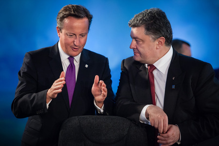 NEWPORT, WALES, UK - Sep 4, 2014: President of Ukraine Petro Poroshenko and British Prime Minister David Cameron during a meeting at the NATO summit in Newport (Wales, UK)