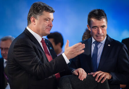 north atlantic treaty organization: NEWPORT, WALES, UK - Sep 4, 2014: President of Ukraine Petro Poroshenko, left, and NATO Secretary General Anders Fogh Rasmussen at the NATO summit in Newport (Wales, UK)