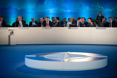nato summit: NEWPORT, WALES, UK - Sep 4, 2014: President of Ukraine Petro Poroshenko and world leaders during a meeting of the NATO summit in Newport (Wales, UK)