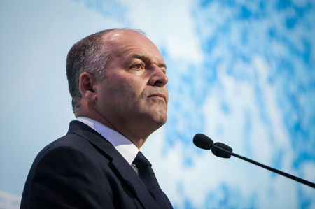 philanthropist: KIEV, UKRAINE - Sep 12, 2014: Ukrainian businessman and philanthropist Victor Pinchuk at the opening of the 11th Annual Meeting of Yalta European Strategy (YES)