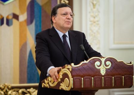 of ratification: KIEV, UKRAINE - Sep 12, 2014: European Commission President Jose Manuel Barroso during an official meeting with President of Ukraine Petro Poroshenko in Kiev Editorial