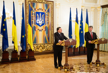 european integration: KIEV, UKRAINE - Sep 12, 2014: President of Ukraine Petro Poroshenko and European Commission President Jose Manuel Barroso during an official meeting in Kiev
