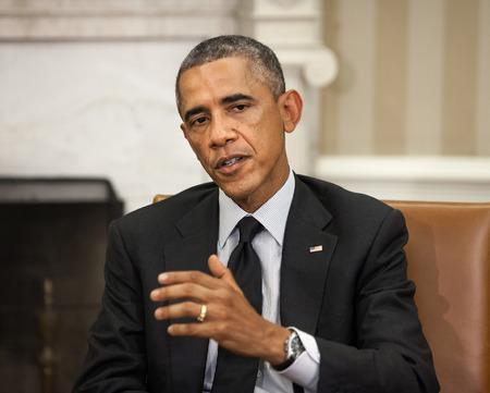 WASHINGTON DC, EE.UU. - 18 de septiembre 2014: El presidente de Estados Unidos Barack Obama durante una reunión oficial con el presidente de Ucrania, Petro Poroshenko en Washington, DC (EE.UU.)