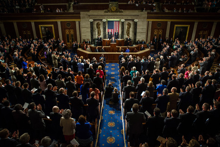 senate: WASHINGTON D.C., USA - Sep 18, 2014: Speech by President of Ukraine Petro Poroshenko at the joint session of the Senate and House of Representatives in Washington, DC (USA)