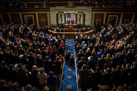 WASHINGTON DC, USA - 18 septembre 2014: Discours du Président de l'Ukraine Petro Porochenko à la session conjointe du Sénat et de la Chambre des représentants à Washington, DC (USA) Éditoriale