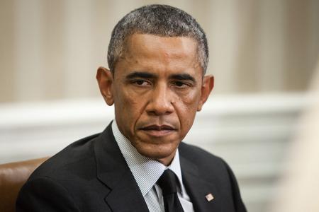 WASHINGTON DC, USA - 18 september 2014: De Amerikaanse president Barack Obama tijdens een officiële bijeenkomst met de president van Oekraïne Petro Poroshenko in Washington, DC (USA)