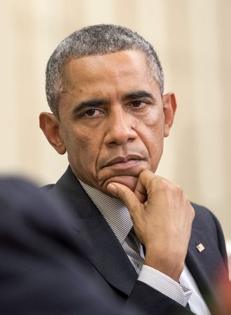obama: WASHINGTON D.C., USA - Sep 18, 2014: United States President Barack Obama during an official meeting with the President of Ukraine Petro Poroshenko in Washington, DC (USA)