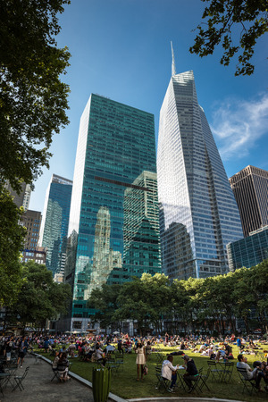 boroughs: NEW YORK, USA - Jun 01, 2014: Manhattan modern architecture. Manhattan is the most densely populated of the five boroughs of New York City