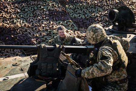 DONETSK REGION, UKRAINE - Oct 10, 2014: President of Ukraine Petro Poroshenko inspected the fortifications in the Donetsk region