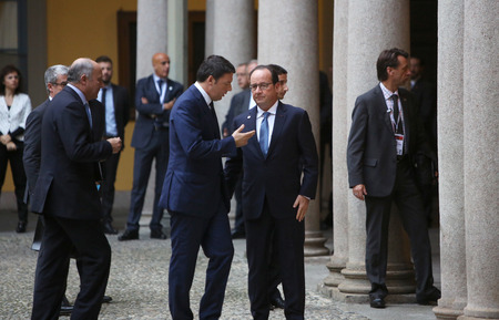 minister: MILAN, ITALY - Oct 17, 2014: French President Francois Hollande and Prime Minister of Italy, Matteo Renzi, during a meeting on the ASEM summit of European and Asian leaders in Milan