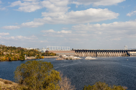dnieper: Zaporozhye, Ukraine, April 5 Oct, 2014: Dneproges - largest hydroelectric power station on the Dnieper River
