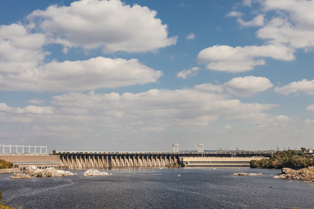 Zaporozhye, Ukraine, April 5 Oct, 2014: Dneproges - largest hydroelectric power station on the Dnieper River