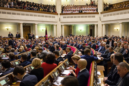 rada: KIEV, UKRAINE - NOV 27, 2014: Opening of the first session of the newly elected Verkhovna Rada of the VIII convocation
