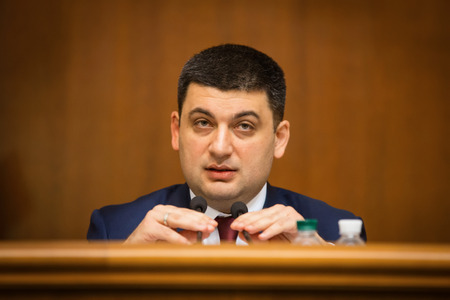 elected: KIEV, UKRAINE - NOV 27, 2014: The newly elected Chairman of the Verkhovna Rada of Ukraine Vladimir Groisman during the opening of the first session of the Verkhovna Rada of Ukraine VIII convocation