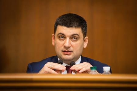 rada: KIEV, UKRAINE - NOV 27, 2014: The newly elected Chairman of the Verkhovna Rada of Ukraine Vladimir Groisman during the opening of the first session of the Verkhovna Rada of Ukraine VIII convocation