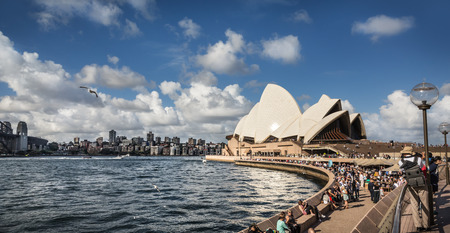 utzon: SYDNEY, AUSTRALIA - DECEMBER 12, 2014: Sydney Opera House view in Sydney, Australia. The Sydney Opera House is a famous arts center. It was designed by Danish architect Jorn Utzon