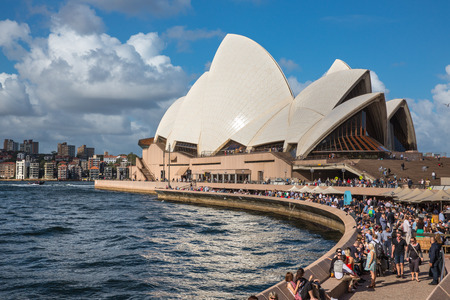 jorn: SYDNEY, AUSTRALIA - DECEMBER 12, 2014: Sydney Opera House view in Sydney, Australia. The Sydney Opera House is a famous arts center. It was designed by Danish architect Jorn Utzon