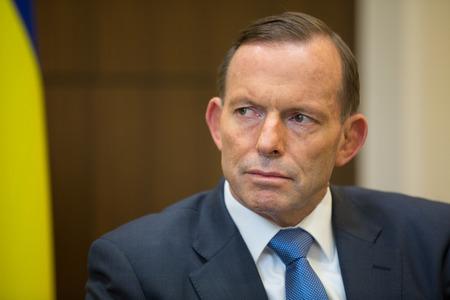 MELBOURNE, AUSTRALIË - 11 december 2014: De Australische premier Tony Abbott tijdens een ontmoeting met de president van Oekraïne Petro Poroshenko in Melbourne