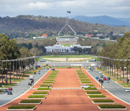 CANBERRA, AUSTRALIA - DECEMBER 12, 2014: Canberra Australia capital view from war museum to parliament house Editoriali