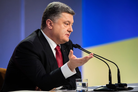 charisma: KIEV, UKRAINE - DECEMBER 29, 2014: Summary annual press conference of the President of Ukraine Poroshenko in Kiev