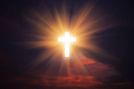 heaven and earth: Sign of faith. Cross in the sky