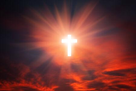 heaven on earth: Sign of faith. Cross in the sky