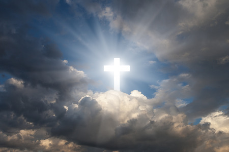 hope symbol of light: Sign of faith. Cross in the sky