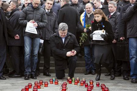 minister of war: KIEV, UKRAINE - Jan 18, 2015: President Ukraine Poroshenko with wife and Prime Minister Yatsenyuk at the march of solidarity against terrorism and memory of victims of terrorist attack in Volnovakha