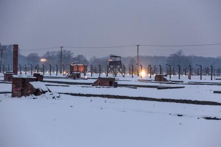 oswiecim: AUSHWITZ (BIRKENAU), OSWIECIM; POLAND - Jan 27; 2015: ceremony dedicated to 70th anniversary of the liberation of Auschwitz-Birkenau concentration camp Editorial