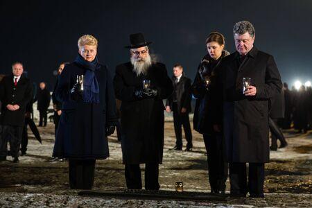 birkenau: AUSHWITZ (BIRKENAU), OSWIECIM; POLAND - Jan 27; 2015: ceremony dedicated to 70th anniversary of the liberation of Auschwitz-Birkenau concentration camp Editorial