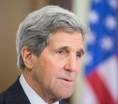 to the secretary: KIEV, UKRAINE - Feb 5, 2015: US Secretary of State John Kerry during a joint press conference with President of Ukraine Petro Poroshenko in Kiev