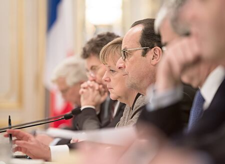 chancellor: KIEV, UKRAINE - Feb 5, 2015: French President Francois Hollande and Chancellor of the Federal Republic of Germany Angela Merkel during a meeting with the President of Ukraine, Pyotr Poroshenko Editorial