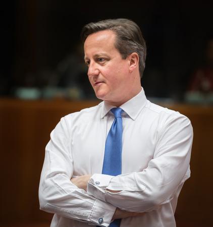 informal: BRUSSELS, BELGIUM - Feb 12, 2015: British Prime Minister David Cameron at the informal EU summit in Brussels (Belgium)