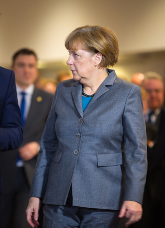 chancellor: BRUSSELS, BELGIUM - Feb 12, 2015: Chancellor of the Federal Republic of Germany Angela Merkel at the informal EU summit in Brussels (Belgium)