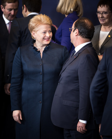 dalia: BRUSSELS, BELGIUM - Feb 12, 2015: Lithuanian President Dalia Grybauskaite and French President Francois Hollande  at the informal EU summit in Brussels (Belgium) Editorial