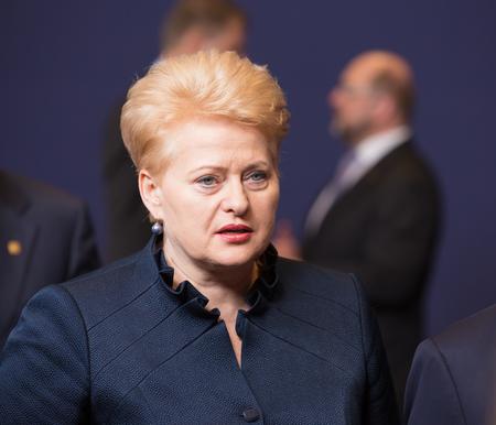 informal: BRUSSELS, BELGIUM - Feb 12, 2015: Lithuanian President Dalia Grybauskaite at the informal EU summit in Brussels (Belgium)