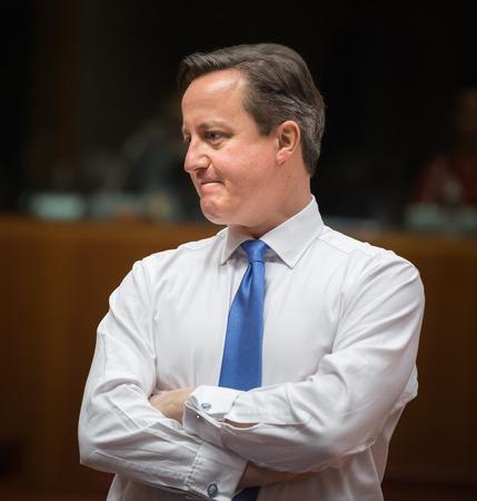 BRUSSEL, BELGIË - 12 februari 2015: de Britse premier David Cameron tijdens de informele EU-top in Brussel (België) Redactioneel