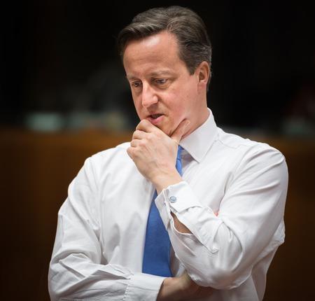 cameron: BRUSSELS, BELGIUM - Feb 12, 2015: British Prime Minister David Cameron at the informal EU summit in Brussels (Belgium)