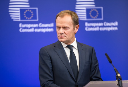 donald: BRUSSELS, BELGIUM - Feb 12, 2015: President of the European Council, Donald Tusk at the informal EU summit in Brussels (Belgium) Editoriali