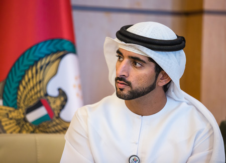 mohammed: ABU DHABI, UNITED ARAB EMIRATES - Feb 24, 2015: Crown Prince of Dubai Hamdan bin Mohammed Al Maktoum during a meeting with the President of Ukraine Petro Poroshenko