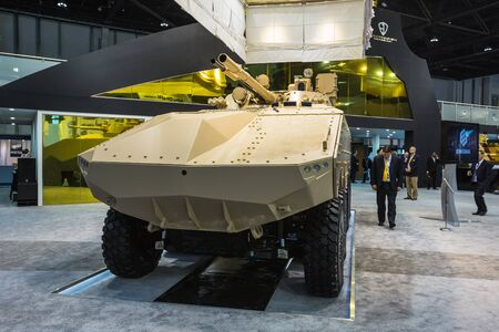 strategically: ABU DHABI, UNITED ARAB EMIRATES - Feb 24, 2015: The International Defence Exhibition and Conference, IDEX, is the most strategically important tri-service defence exhibition in the world. Editorial