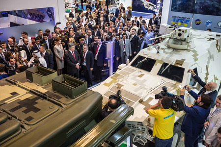 drones: ABU DHABI, UNITED ARAB EMIRATES - Feb 24, 2015: President of Ukraine Petro Poroshenko during a visit to the 12th International Defence Exhibition IDEX-2015 Editorial
