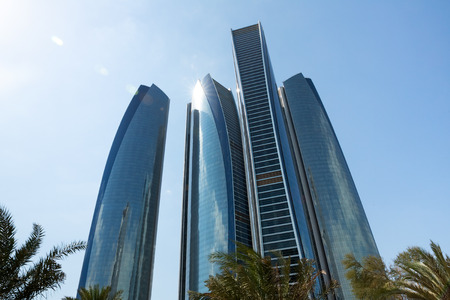 condominium complex: ABU DHABI, UNITED ARAB EMIRATES - Feb 24, 2015: Etihad Towers is a complex of buildings with five towers in Abu Dhabi, the capital city of the United Arab Emirates.