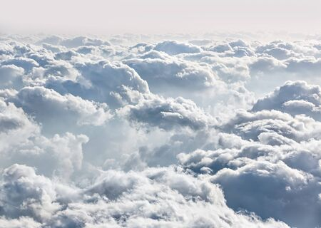 aircraft aeroplane: Beautiful sky with clouds, a view from an aeroplane above the clouds Stock Photo
