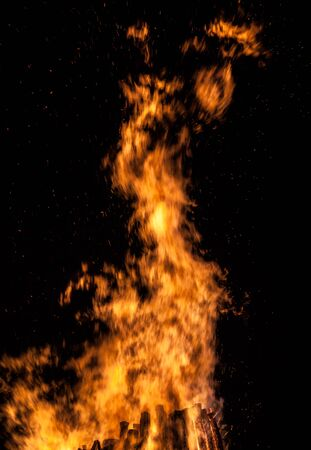 Big bonfire at night. Fire flames on black background photo