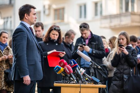 affairs: KIEV, UKRAINE - Mar. 10, 2015: Minister of Foreign Affairs of Ukraine Pavlo Klimkin makes a statement to the press